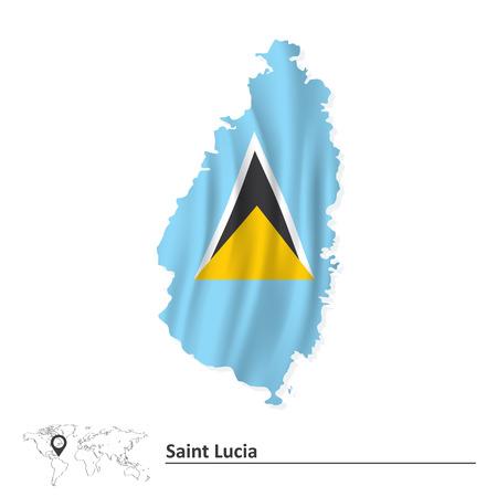 saint lucia: Map of Saint Lucia with flag - vector illustration