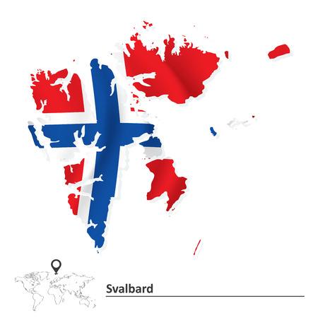 svalbard: Map of Svalbard with flag - vector illustration Illustration
