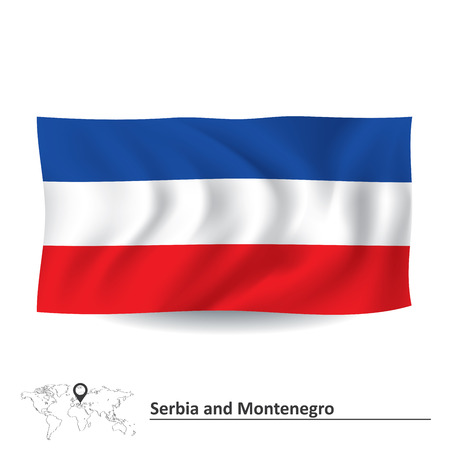 serbia and montenegro: Flag of Serbia and Montenegro - vector illustration