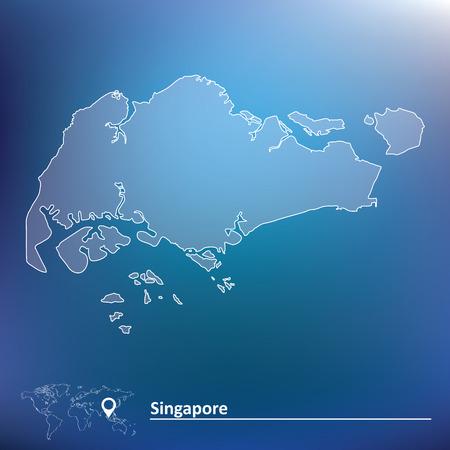 singapore: Map of Singapore - vector illustration