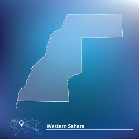 neighbours: Map of Western Sahara - vector illustration