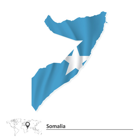 Map of Somalia with flag - vector illustration Vector