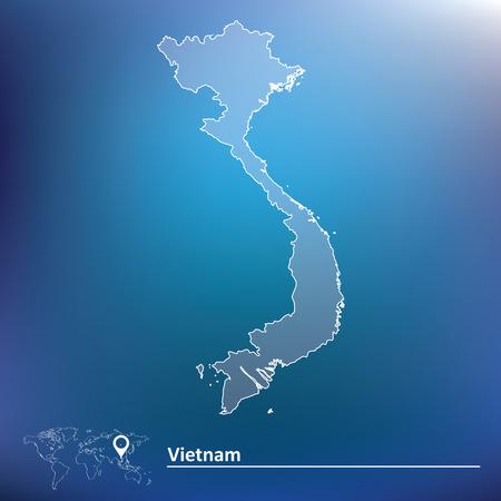 indochina peninsula: Map of Vietnam - vector illustration