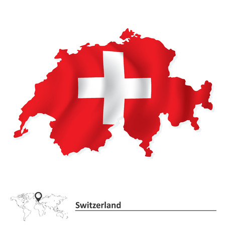 swiss insignia: Map of Switzerland with flag - vector illustration
