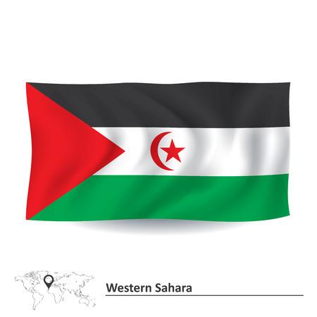 pentacle: Flag of Western Sahara - vector illustration Illustration