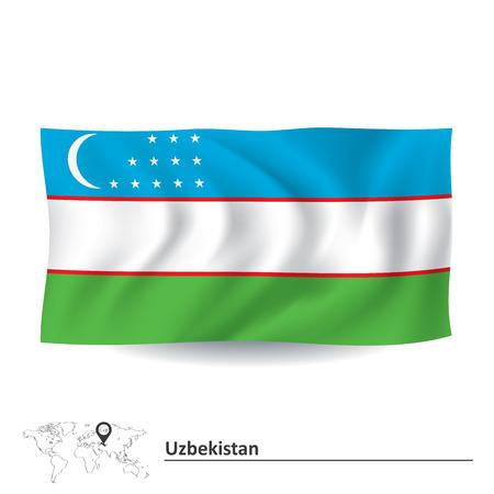 oezbekistan: Vlag van Oezbekistan - vector illustratie