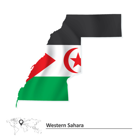 pentacle: Map of Western Sahara with flag - vector illustration Illustration