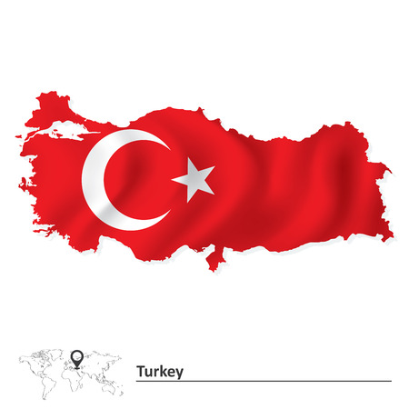 european flags: Map of Turkey with flag - vector illustration