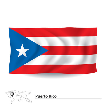 pentacle: Flag of Puerto Rico - vector illustration