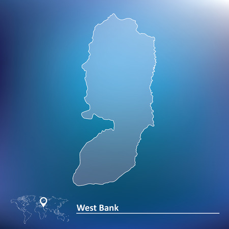 illustrated globes: Map of West Bank - vector illustration