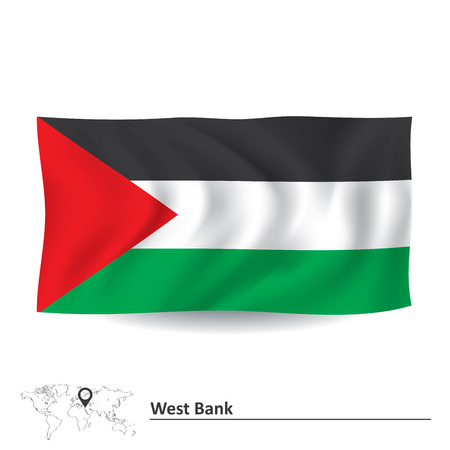 west bank: Flag of West Bank - vector illustration Illustration