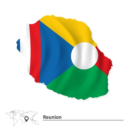 reunion: Map of Reunion with flag - vector illustration