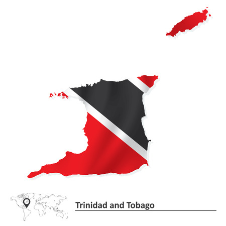 trinidad and tobago: Map of Trinidad and Tobago with flag - vector illustration