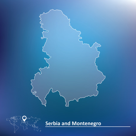 serbia and montenegro: Map of Serbia and Montenegro - vector illustration
