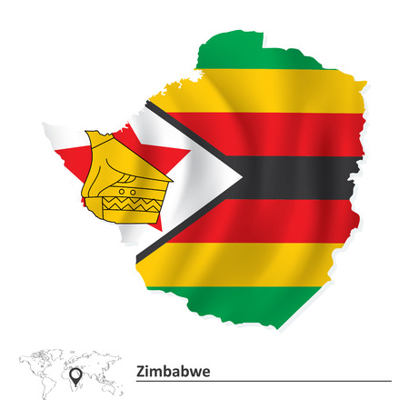 zimbabwe: Map of Zimbabwe with flag - vector illustration Illustration