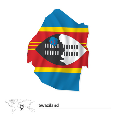 swaziland: Map of Swaziland with flag - vector illustration