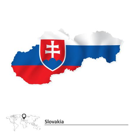 slovakia: Map of Slovakia with flag - vector illustration