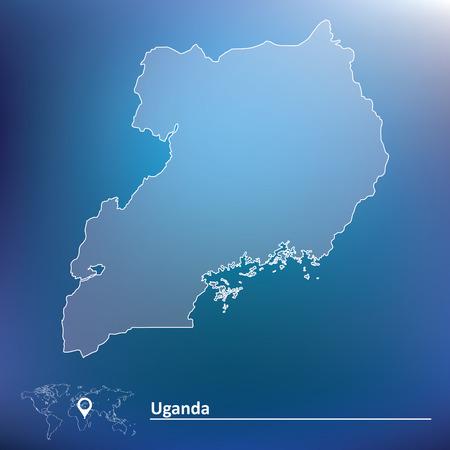 graphical chart: Map of Uganda - vector illustration