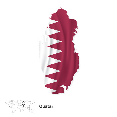 southwest asia: Map of Quatar with flag - vector illustration