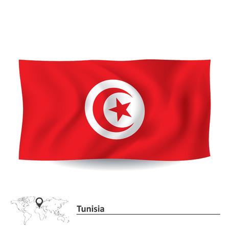 tunisia: Flag of Tunisia - vector illustration