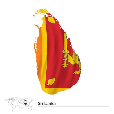 sri: Map of Sri Lanka with flag - vector illustration Illustration