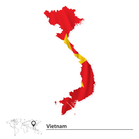 indochina peninsula: Map of Vietnam with flag - vector illustration