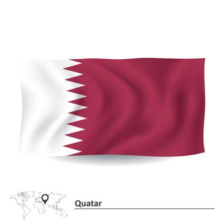 southwest asia: Flag of Quatar - vector illustration