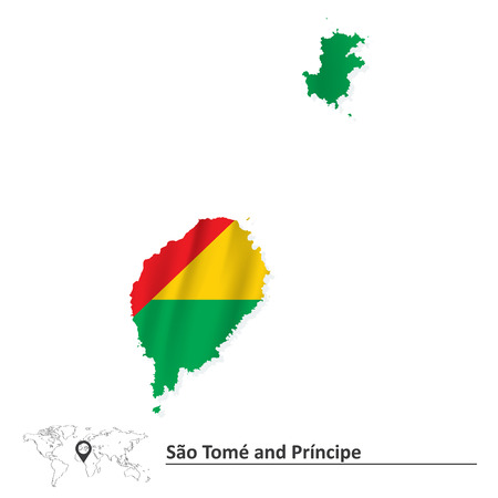 tomo: Mappa di Sao Tome e Principe con bandiera - illustrazione vettoriale Vettoriali