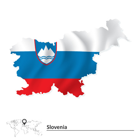 slovenia: Map of Slovenia with flag - vector illustration Illustration