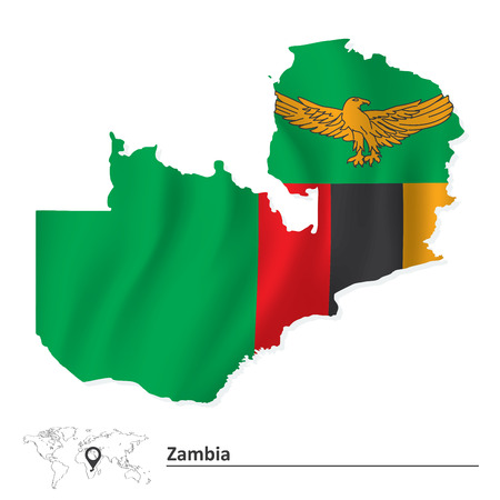 zambia: Map of Zambia with flag - vector illustration