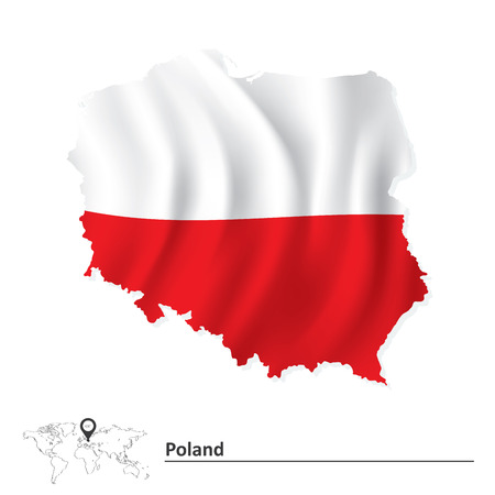 Map of Poland with flag - vector illustration 免版税图像 - 41241948