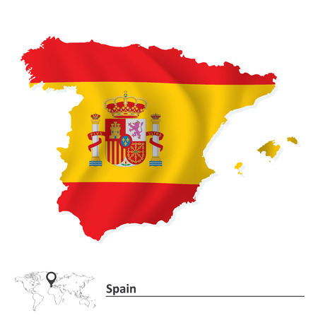 Map of Spain with flag - vector illustration