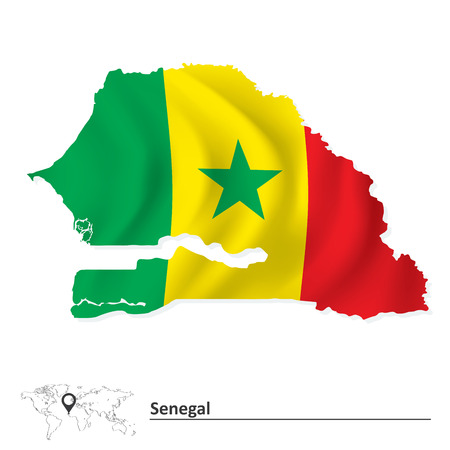 senegal: Map of Senegal with flag - vector illustration