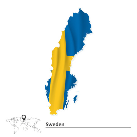 Map of Sweden with flag - vector illustration Vector