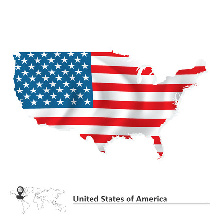 new york map: Map of United States of America with flag - vector illustration Illustration