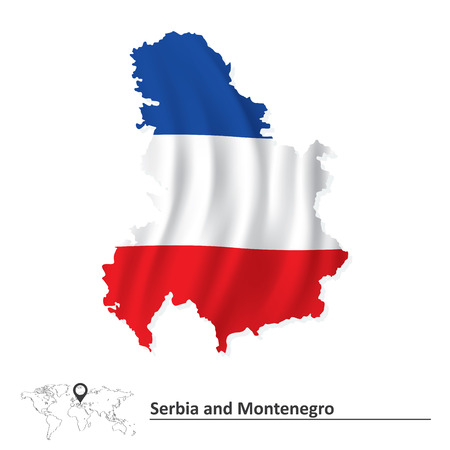 serbia and montenegro: Map of Serbia and Montenegro with flag - vector illustration