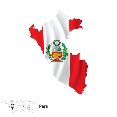 Map of Peru with flag - vector illustration