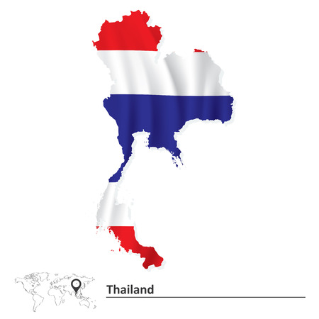 Map of Thailand with flag - vector illustration Vector