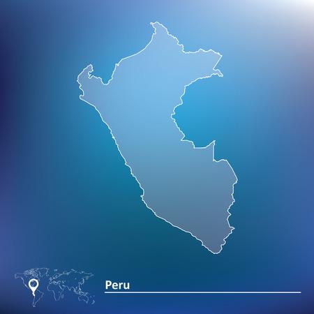 mapa del peru: Mapa de Perú - ilustración vectorial