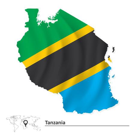 tanzania: Map of Tanzania with flag - vector illustration