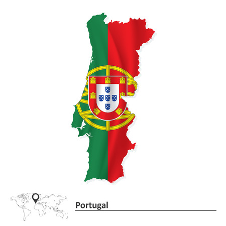 portugese: Map of Portugal with flag - vector illustration