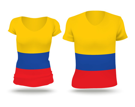 strip shirt: Flag shirt design of Colombia - vector illustration