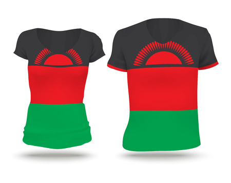 strip shirt: Flag shirt design of Malawi - vector illustration