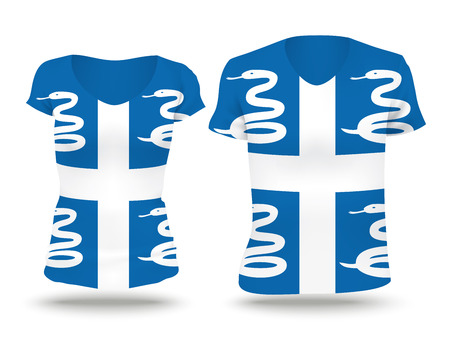 strip shirt: Flag shirt design of Martinique - vector illustration
