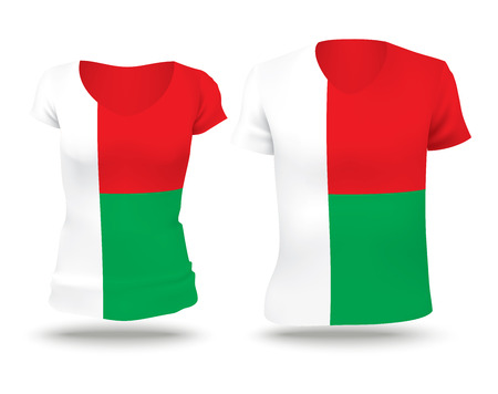 strip shirt: Flag shirt design of Madagascar - vector illustration