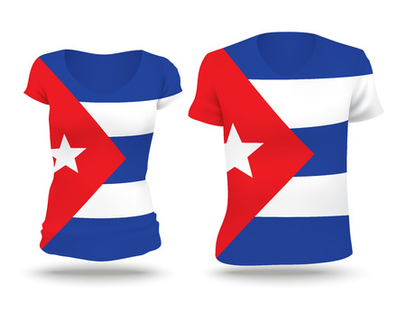 strip shirt: Flag shirt design of Cuba - vector illustration Illustration