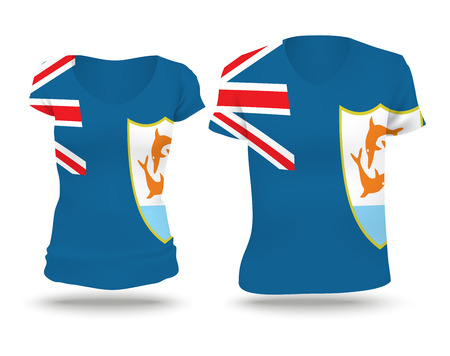 anguilla: Flag shirt design of Anguilla - vector illustration