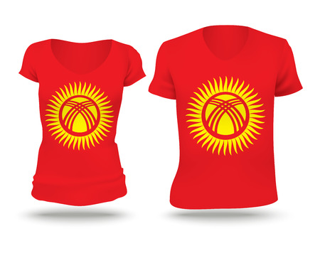 strip shirt: Flag shirt design of Kyrgyzstan - vector illustration