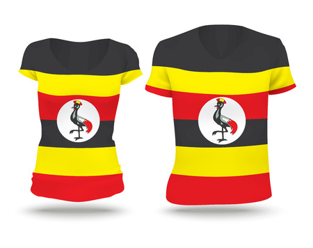 strip shirt: Flag shirt design of Uganda - vector illustration Illustration