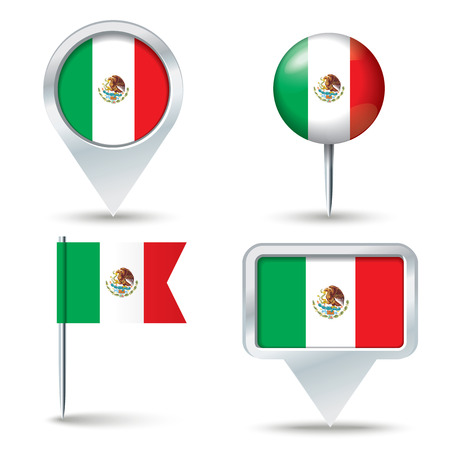 map pins: Map pins with flag of Mexico - vector illustration
